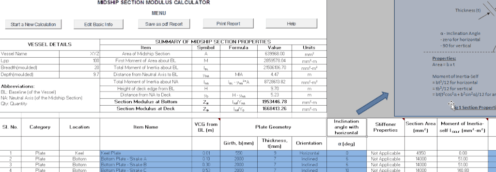 midship section ship scantling calculation