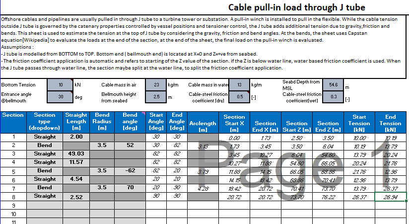 An app for calculating the pull-in load of a subsea cable