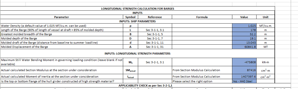 App to calculate longitudinal strength limit for barges as per ABS rules