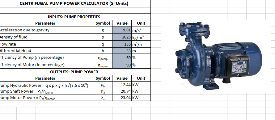 An app to calculate the required power for a centrifugal pump